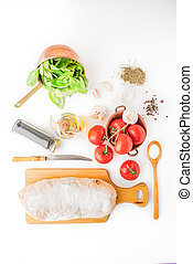 Ingredients for  bruschetta on the white background