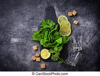 Ingredients for cooking summer drink mojito
