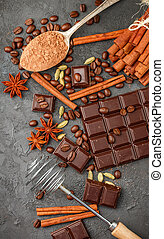Ingredients for desserts - dark chocolate, cocoa, coffee, ...