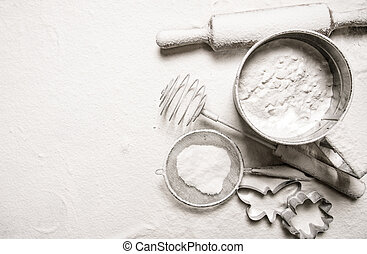 Ingredients for dough - sieve flour, rolling pin, cookie ...