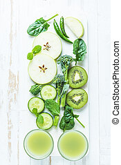 Ingredients for green healthy smoothie