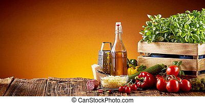 Ingredients for Italian cuisine in a pizzeria