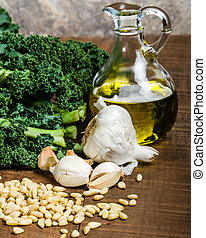 Ingredients for kale pesto - Kale pine nuts and garlic for ...