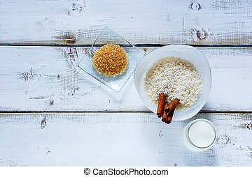 Ingredients for making rice pudding