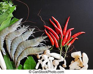 Ingredients for making Tom Yum Shrimp