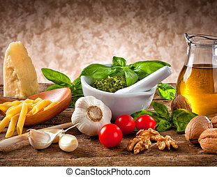 Ingredients for Pesto - Italian pesto ingredients on wooden...