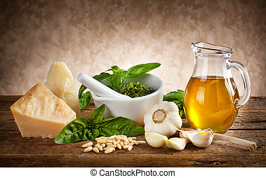 Ingredients for pesto sauce.