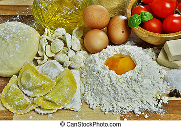 Ingredients for preparation of homemade egg pasta