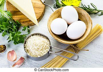 Ingredients for preparing pasta pangrattato with crispy...