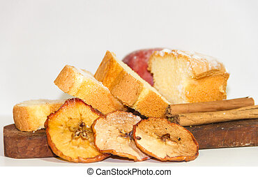 ingredients for red apple cake and cinnamon