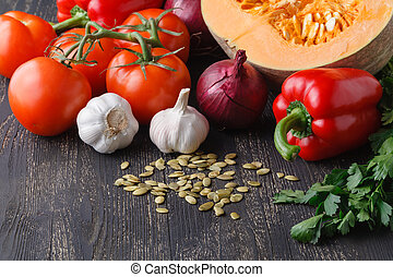 Ingredients for seasonal pumpkin soup