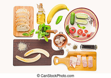 Ingredients for tartines on the white background