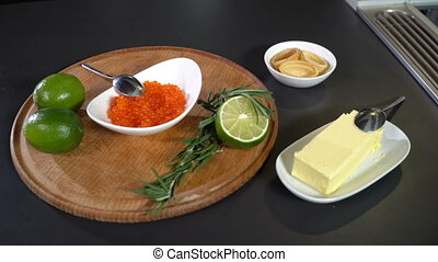 Ingredients for tartolet with red salmon caviar - Red salmon...