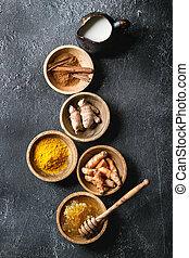 Ingredients for turmeric latte