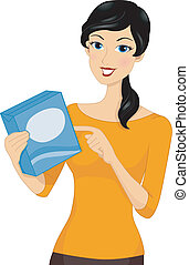 Ingredients Girl - Illustration of a Girl Holding a Box...