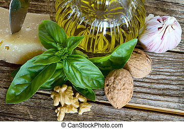 ingredients of pesto with walnuts