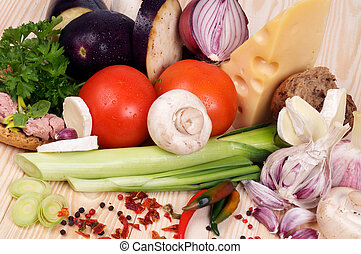 Ingredients of Simple Meals with Vegetables, Cheese and...