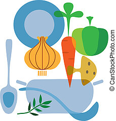 ingredients of tasty vegetables soup, vector illustration