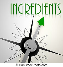 Ingredients on green compass