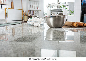 Ingredients On Marble Countertop In Commercial Kitchen -...