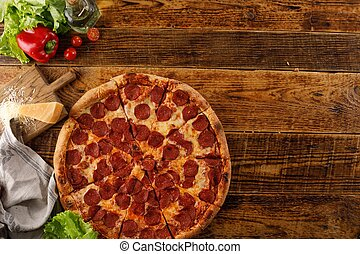 ingredients., pepperoni, encore, pizza, table., sommet, vue., copie, space., bois, vie