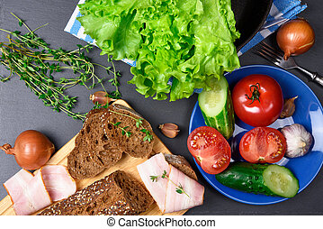 ingredients., sommet, view:, bacon., légumes, pain