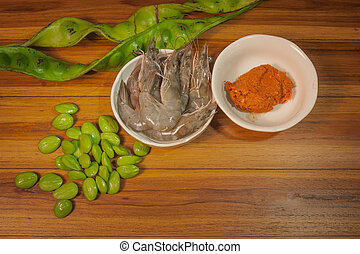 Ingredients to cook food Parkia Speciosa Red Curry shrimp...