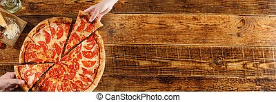 ingredients., vue., bois, pizza, margarita, vie, table., encore, sommet, mains