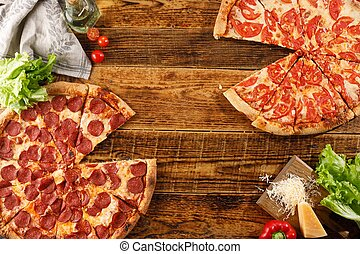 ingredients., vue., bois, pizza, margarita, vie, table., encore, sommet, pepperoni