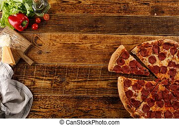 ingredients., vue., bois, pizza, vie, table., encore, space., sommet, copie, pepperoni