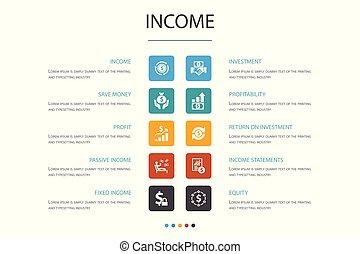 ingresos, iconos, excepto, rentabilidad, dinero, ganancia, concept., opción, infographic, inversión, 10