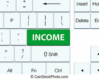 ingresos, verde, teclado, botón