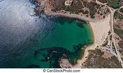 ingrina, portugal, playa, aerial., algarve, cielo, bishpo.,...