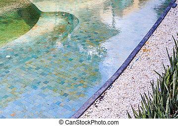 inground, bostads, backyard., slå samman, simning