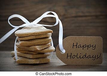ingwer, bread, pl�tzchen, mit, etikett, mit, glücklich, feiertage