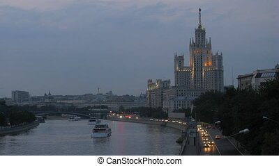 Inhabited skyscraper stands on Kotelnichesky quay near to...