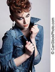 inhabituel, charmant, -, veste, jean, femme, studio, clair, haut., coup, faire, jeune