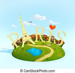 inhabituel, concept, mot, pré, paris, voyager, city., herbe, européen