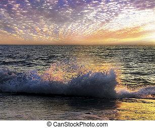 inhabituel, coucher soleil mer
