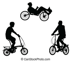 inhabituel, cyclistes, silhouettes