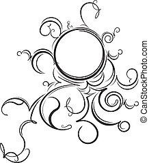 inhabituel, illustration., vendange, cadre, rond, vecteur,...