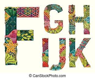 inhabituel, lettres, alphabet, style, colorfull, fond,...