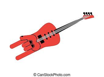 inhabituel, main, signe., instrument., guitare, formulaire, électrique, musical, musician., rocher