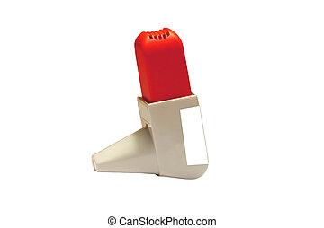 inhalador del asma, aislado, encima, blanco