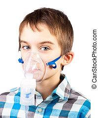 inhalador, máscara, niño