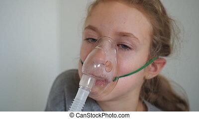 inhalation., peu, masque, girl