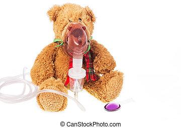inhalationsapparat, maske, krank, bär, teddy