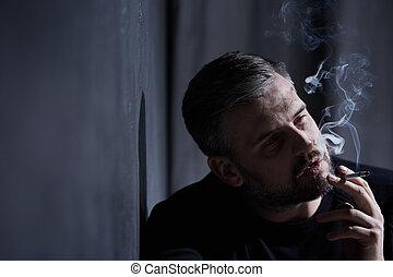 inhaler, cigarette, fumée, homme