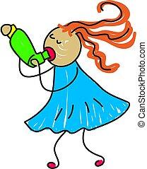 inhaler kid - little girl with asthma using her inhaler -...