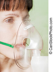 Inhaling mask - Medical equipment - inhaling mask on women